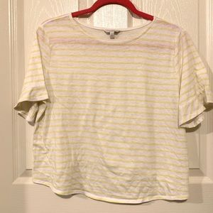 Lucky Brand yellow striped tee size L